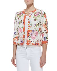 Michael Simon Floral Print Lace Cardigan Women's