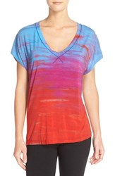 Women's Hard Tail 'Siro' Slouchy V Neck Tee Blue Berry Red