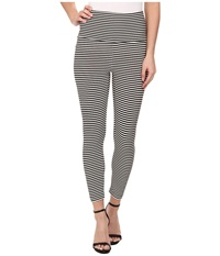 Kamalikulture By Norma Kamali Cropped Leggings Black Off White Stripe Women's Casual Pants