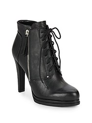 French Connection Sabea Leather Lace Up Booties Black