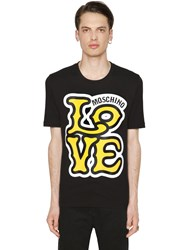 Love Moschino Comic Logo Print Cotton Jersey T Shirt