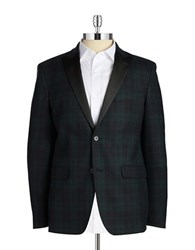 Lauren Ralph Lauren Plaid Wool Jacket Navy Green