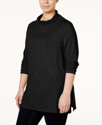 Stoosh Plus Size Long Sleeve Relaxed Turtleneck Top Black