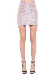 Dsquared Silk Voile Lame Mini Skirt Pink
