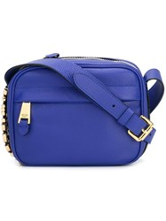 Moschino Logo Plaque Crossbody Bag Blue