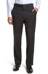 Jb Britches 'S Big And Tall Flat Front Check Wool Trousers Charcoal
