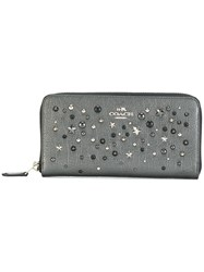 Coach Star Studded Wallet Leather Black