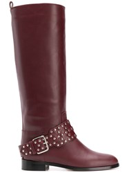 Red Valentino Studded Buckle Boots Red