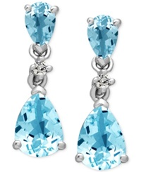 Macy's 14K White Gold Aquamarine 1 1 2 Ct. T.W. And Diamond Accent Drop Earrings Blue