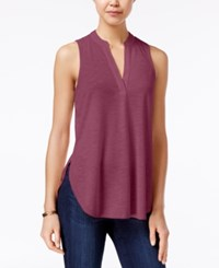 Almost Famous Juniors' Cutout Back Lace Trim Top Rosewood