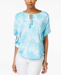 American Living Tie Dyed Poncho Top Only At Macy's Turquoise Multi
