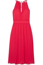 Michael Michael Kors Hayden Chain Embellished Pleated Georgette Dress Papaya