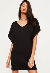 Missguided Black Oversized Wide V Neck T Shirt Dress