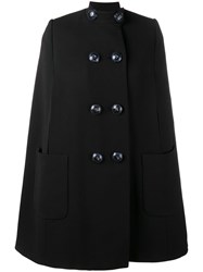 Alexander Mcqueen Embellished Button Cape Black