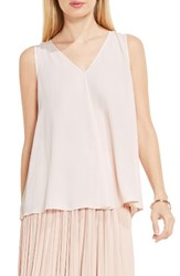 Vince Camuto Petite Women's Drape Front V Neck Sleeveless Blouse Pink Mimosa