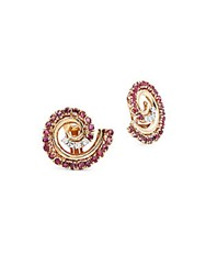 Estate Jewelry Collection Vintage White Diamond Ruby And 14K Yellow Gold Stud Earrings