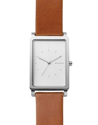 Skagen Hagen Stainless Steel And Leather Brushed Dial Rectangular Strap Watch White