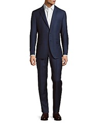 Saks Fifth Avenue Two Piece Solid Wool Jacket And Pants Set Blue