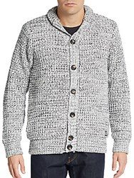 American Stitch Marled Knit Cardigan Black White