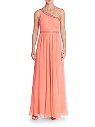Bcbgmaxazria Danielle Embellished One Shoulder Gown Coral