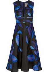 Lela Rose Printed Silk Midi Dress Black
