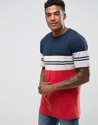 Pull And Bear Pullandbear T Shirt With Stripes In Navy Blue Navy Blue