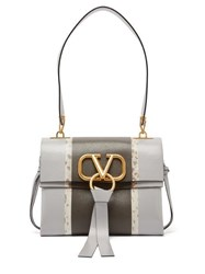 Valentino V Ring Bi Colour Leather Shoulder Bag Grey Multi