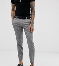 Heart And Dagger Skinny Fit Suit Trousers In Grey Linen Mix
