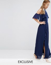 Tfnc Wedding High Neck Maxi Dress With Frills Navy
