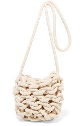 Alienina Ella Woven Cotton Shoulder Bag White