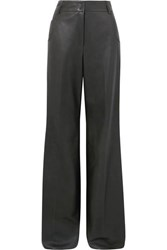 Akris Wide Leg Leather Pants Green