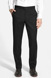 Men's Nordstrom Flat Front Wool Trousers Black