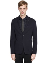 Emporio Armani Techno And Wool Blend Jersey Jacket