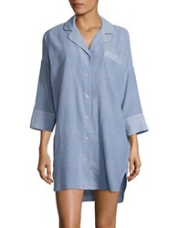 Lord And Taylor Cotton Solid Button Down Tunic Crown Blue