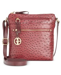 Giani Bernini North South Ostrich Printed Crossbody Only At Macy's Wine