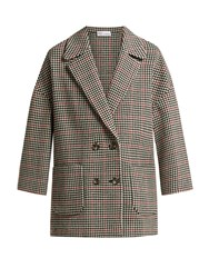 Red Valentino Houndstooth Check Wool Blend Coat Red Multi