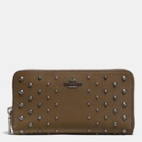 Coach Accordion Zip Wallet In Polished Pebble Leather With Ombre Rivets Dark Gunmetal Fatigue