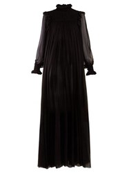Saint Laurent High Neck Mousseline Gown Black