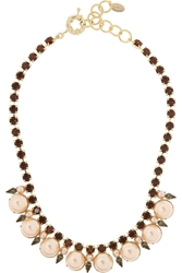 Elizabeth Cole Bib Gold Plated Swarovski Crystal And Faux Pearl Necklace Pink