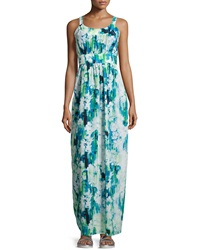 Marc New York By Andrew Marc Printed Sleeveless Pleated Maxi Dress Aqua