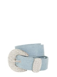 B Low The Belt 40Mm Cotton Denim W Crystal Buckle