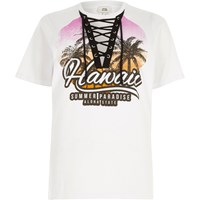 River Island White 'Hawaii' Print Lace Up Front T Shirt