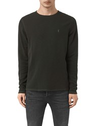 Allsaints Clash Long Sleeve Crew Neck Top Shadow Green