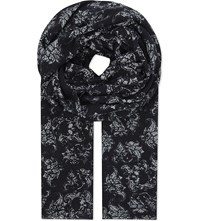 The Kooples Floral Skull Modal And Wool Blend Scarf Whi09