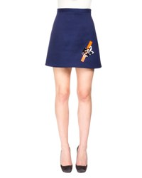 Christopher Kane A Line Mini Skirt W Sequin Tape Detail Navy
