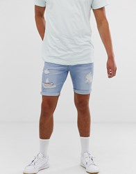 New Look Skinny Denim Shorts With Rips In Blue Wash