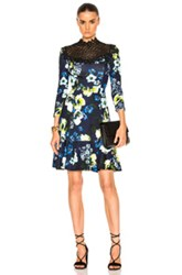 Erdem Reiko Hasu Night Ponte Jersey Dress In Black Blue Floral Black Blue Floral