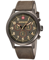 Wenger Men's Swiss Chronograph Terragraph Olive Leather Strap Watch 43Mm 0543.103