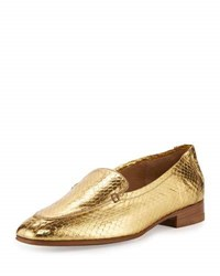 The Row Adam Metallic Snakeskin Loafer Gold