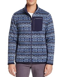 Vineyard Vines Fair Isle Better Sweater Fleece Zip Jacket Deep Bay